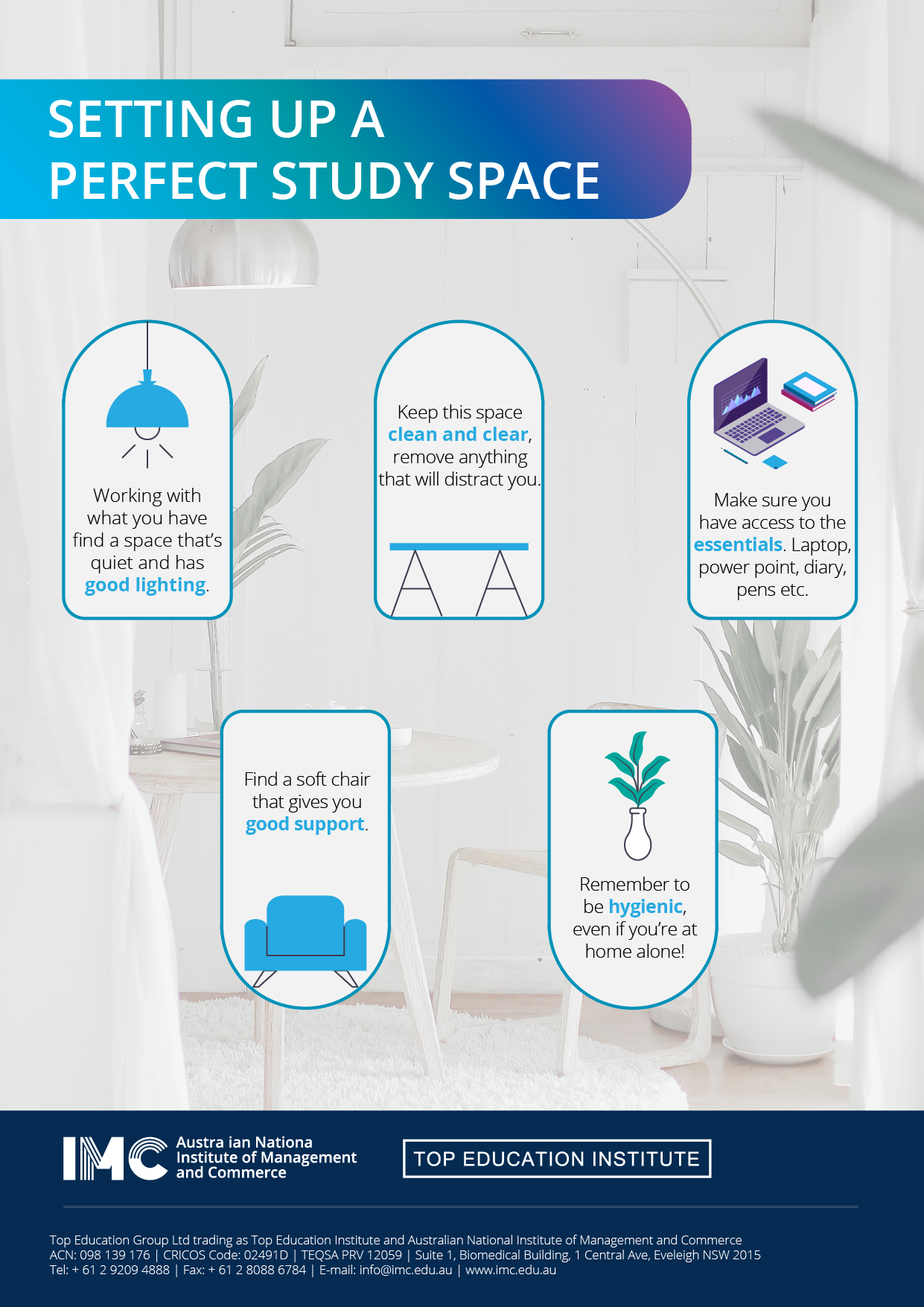 poster for setting up a perfect study space